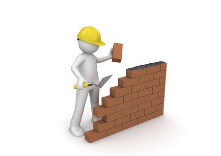 Bouwer  in aanbouw (3D-geïsoleerde tekens serie)