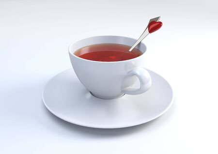 Cup of tea with lovely spoon (3d isolated objects series) photo