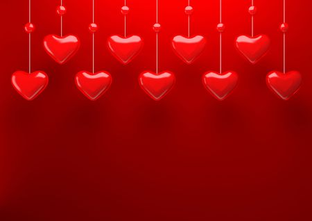 Hanging hearts background (love and tender, valentine day, wedding backgrounds series) Stock Photo - 6355067