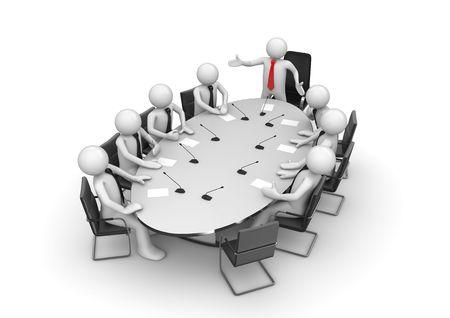 Bedrijfs bijeenkomst in vergader ruimte (3D-geïsoleerde tekens, ondernemers, bedrijfs concepten reeks) Stockfoto