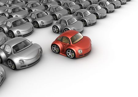 Special red car in front of many grey cars (3d isolated on white background micromachines series)