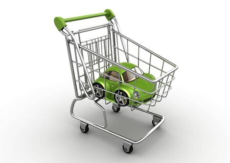 shopping centre: Buy me a car! (3d isolated on white background funny micromachines series) Stock Photo