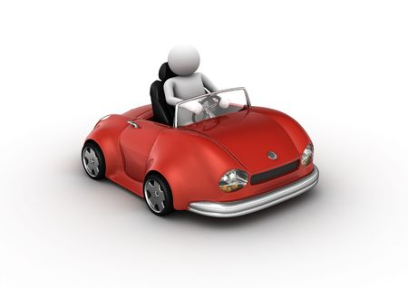 nonexistent: Red cabrio car driven by character (3d isolated on white background micromachines series)