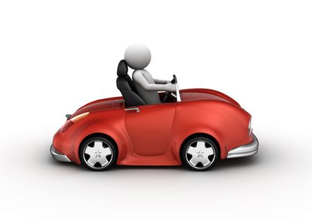 Red cabrio car driven by character (3d isolated on white background micromachines series)