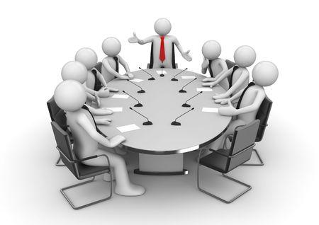 lluvia de ideas: Reunidos en la sala de conferencias (caracteres 3d del aislado, empresarios, serie de conceptos de negocio)