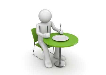 Hongerig karakter dat op een maaltijd wacht (3d geïsoleerd op witte achtergrondkaraktersreeks)