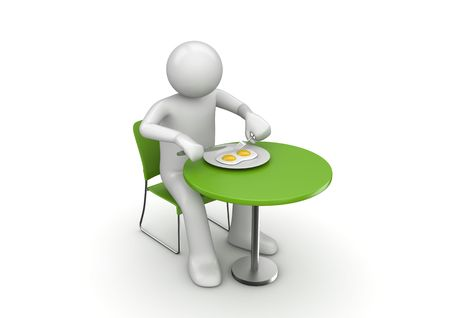Eating yummy breakfast (3d isolated on white background characters series)