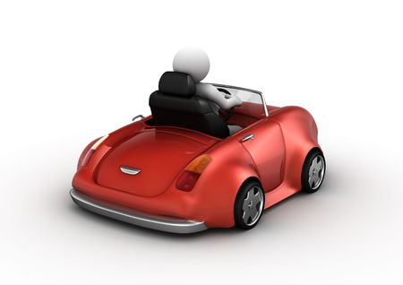 Red cabrio driven by 3d character (funny micromachines series) photo