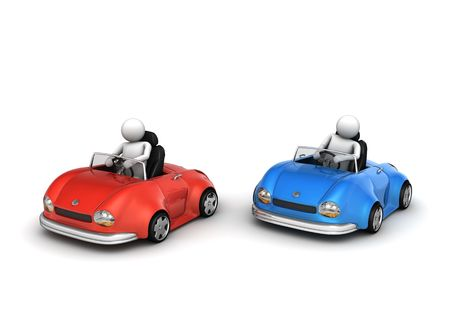 diminutive: Two cars racing (funny micromachines series)