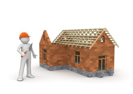 Builder / Under construction wireframe house (3d isolated on white background characters series) Banque d'images