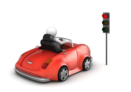 diminutive: Red cabrio on stopped red traffic light signal (funny isolated on white background micro machines series) Stock Photo