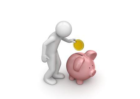 Storting besparen (3d geïsoleerd op witte achtergrond karakters de reeks)