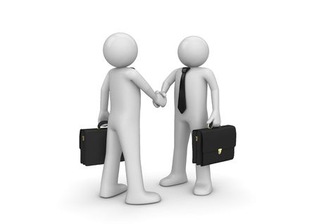 Handshaking two businessmen (3d isolated characters on white background, business series)