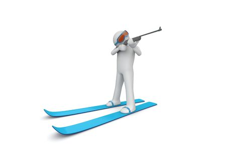 Biathlonist (3d isolated characters on white background, sports series) photo