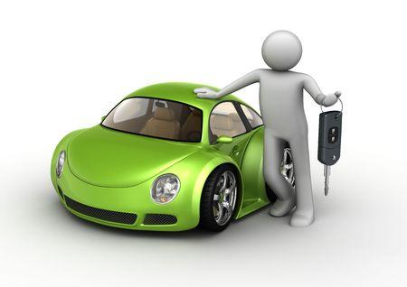 carritos de juguete: Nuevo coche verde (3d microm�quinas aislados en serie de fondo blanco)