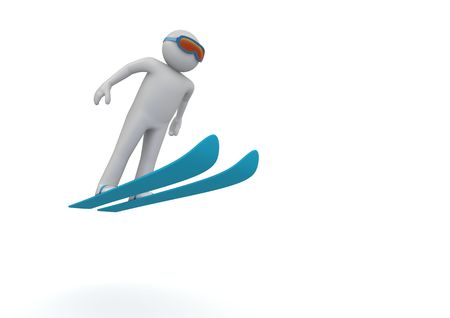 ski run: Ski jumping (3d isolated characters on white background, sports series) Stock Photo