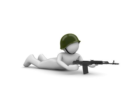 batallon: Con el objetivo de soldado en emboscada (3d caracteres aislados en serie de fondo blanco) Foto de archivo