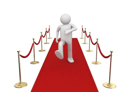 Red carpet walker (3d isolated characters on white background series)