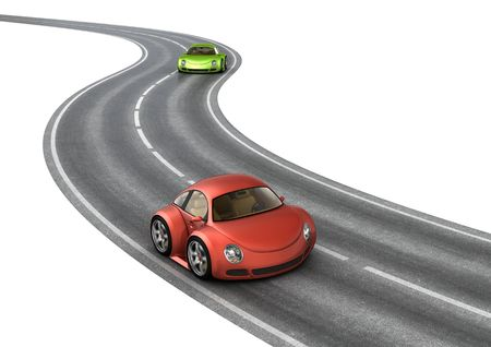 Road race green red cars (3d isolated micromachines on white background series) Imagens