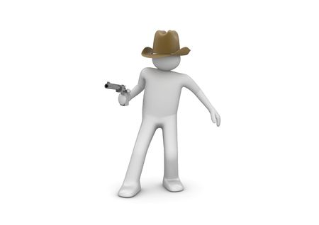 gunpoint: Cowboy Aiming (3d isolated characters on white background series) Stock Photo