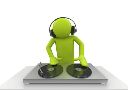 alien clipart: Acid DJ (3d isolated characters on white background series)