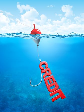 banking crisis: Swallow credit bait (3d business, finance, banking, crisis illustrations concepts)
