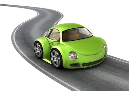 car racing: Green micromachine on the road (3d isolated micromachines on white background series)