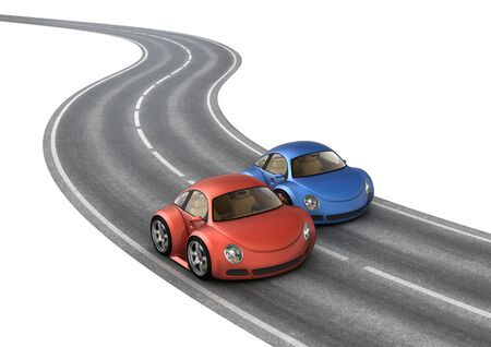 diminutive: Road race blue red cars (3d isolated micromachines on white background series)