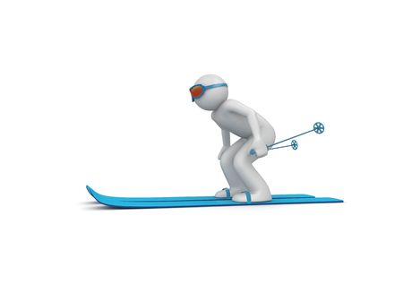cowering: Downhill skier 2 (3d isolated characters on white background, sports series)