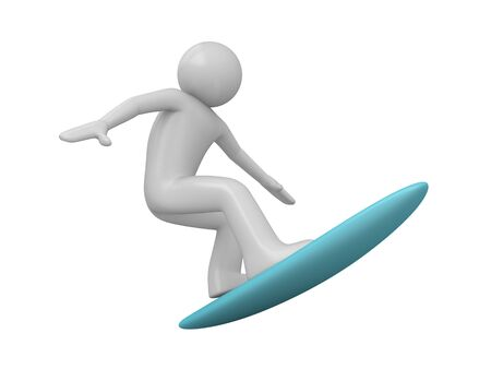 cartoon surfing: Surfer (3d isolated characters on white background, sports series) Stock Photo
