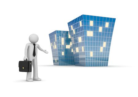 guy standing: Businessman invites to new office building (3d isolated characters, businessmen, business concepts series) Stock Photo