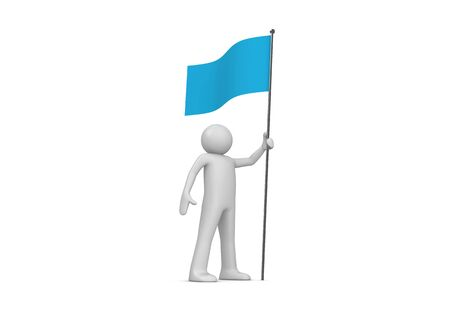 unrecognizable person: Man holds blue flag on flagpole (3d isolated characters on white background series)