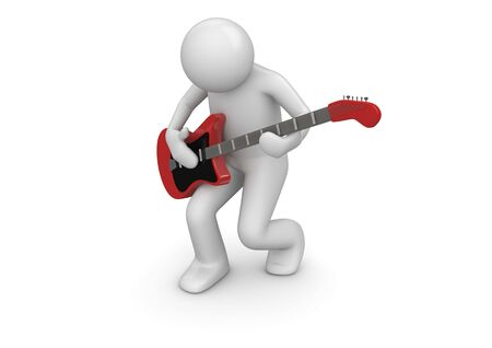 fingerboard: Emotional rock guitarist (3d isolated characters on white background series)