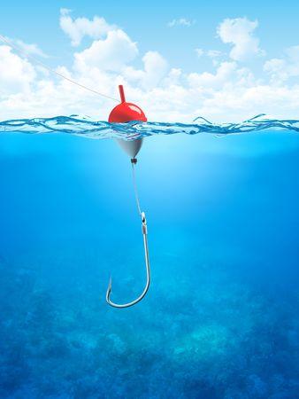 Float, Angelschnur und unter Wasser hook (3d Illustrationen Konzepte Serie als Hintergründe oder Werkstücke verwenden)
