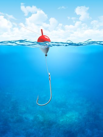 hook up: Float, fishing line and hook underwater (3d illustrations concepts series to use as backgrounds or workpieces)