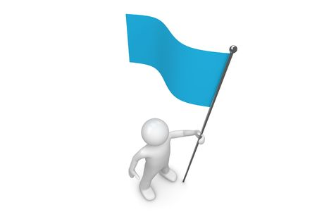 Man holds blue flag on flagpole (3d isolated characters on white background series) photo