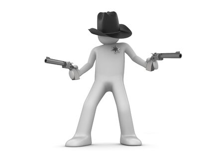 lucky man: Sheriff on guard (3d isolated characters on white background series)