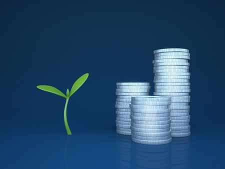 funds: Growing funds  investments (3d simple business concepts and metaphors series)