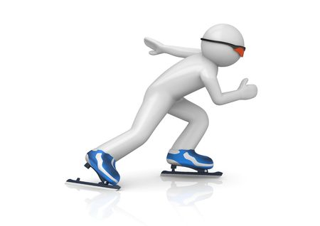 Skater speeding up (3d isolated characters on white background series) photo