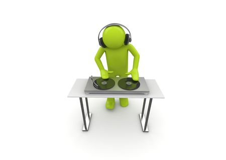 Acid DJ (3d isolated characters on white background series)