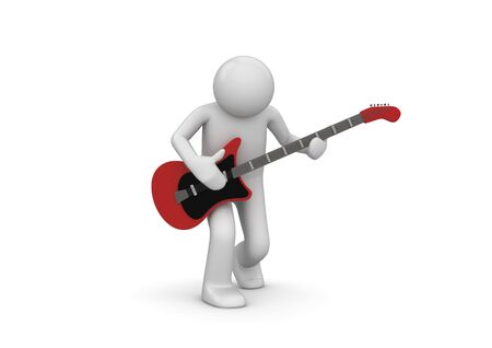 fingerboard: Rock guitarist (3d isolated characters on white background series)