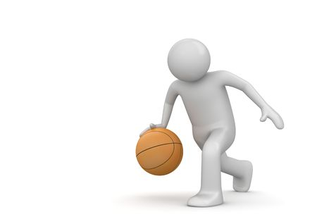 3d ball: Basterball player (3d isolated characters on white background, sports series)