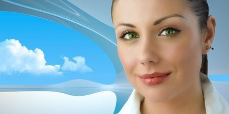 futuristic interior: Attractive green-eyed young businesswoman (remarkable future interiors series with furniture, people and copy space)