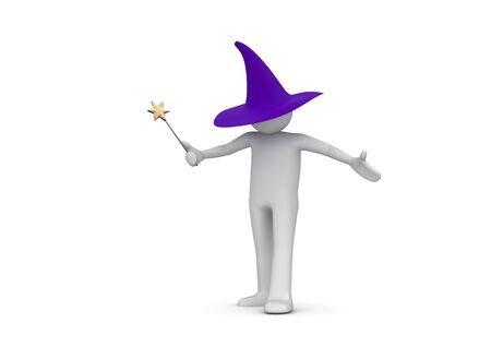 witchery: Wizard (3d isolated characters on white background series)