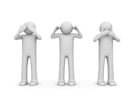 Blind, doof en stom (3d geïsoleerde tekens op witte achtergrond serie)
