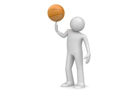 3d ball: Basketball player (3d characters isolated on white background, sports series) Stock Photo