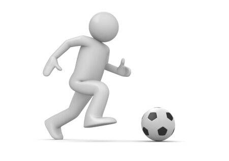 soccer goal: Soccer player (3d isolated characters on white background, sports series)