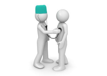 Doctor en patiënt (3D-geïsoleerde tekens op een witte achtergrond, geneeskunde-reeks)