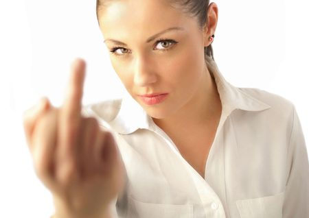 Chica atractiva mostrando dedo  Foto de archivo