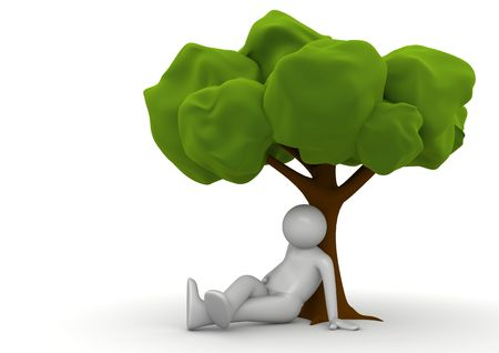 free space: Sitting under the tree (3d isolated characters on white background series)